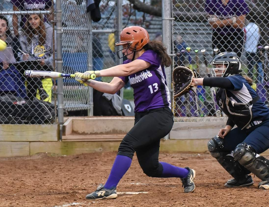 Senior captain Emily Muzyka and the North Branford softball team are 3-0 to start the spring season. Muzyka began her campaign with a three-run homer and has pounded the ball by driving home 11 runs through the T-Birds' first three games, Photo by Kelley Fryer/The Sound