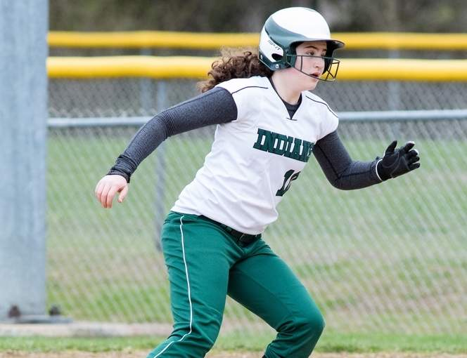 Jordyn Goldstein notched a triple in the Guilford softball squad's 6-3, Opening Day win over Lyman Hall on April 7. Photo by Chris Eadevito/The Courier