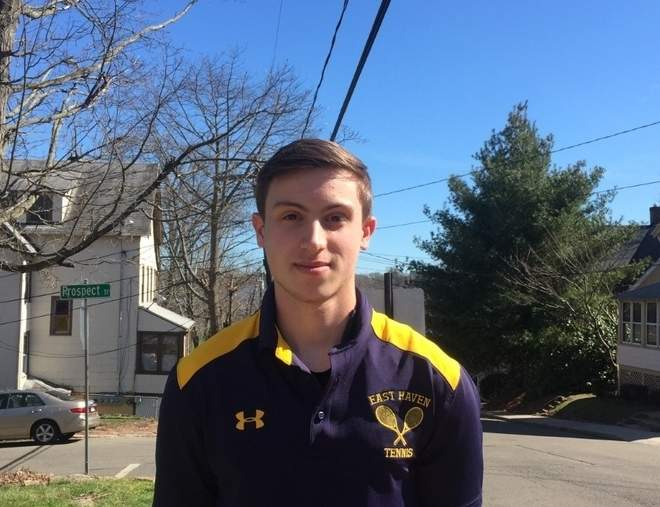 Tony Cofrancesco has been the No. 1 singles player for East Haven boys' tennis since his sophomore year. This spring, Tony is back in action as a senior captain with the Yellowjackets. Photo courtesy of Tony Cofrancesco
