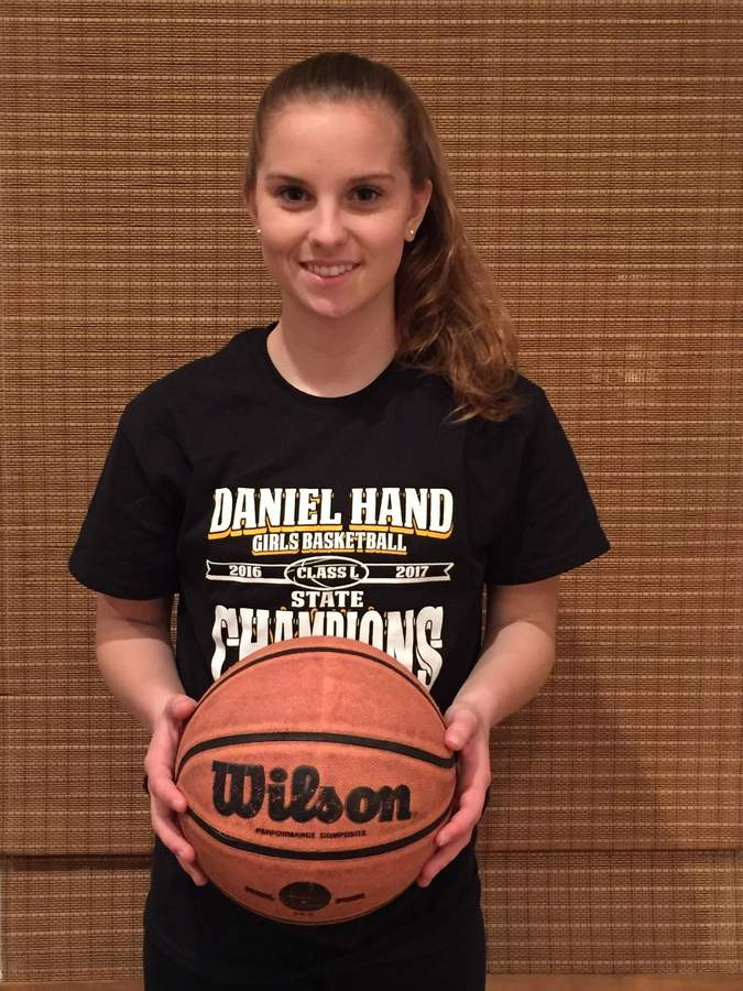 Junior guard Emma Sullivan has a knack for making big shots and hustling on defense as a member of the Hand girls' basketball squad. Sullivan averaged 9.3 points per game for the Class L state champion Tigers this winter. Photo courtesy of Emma Sullivan