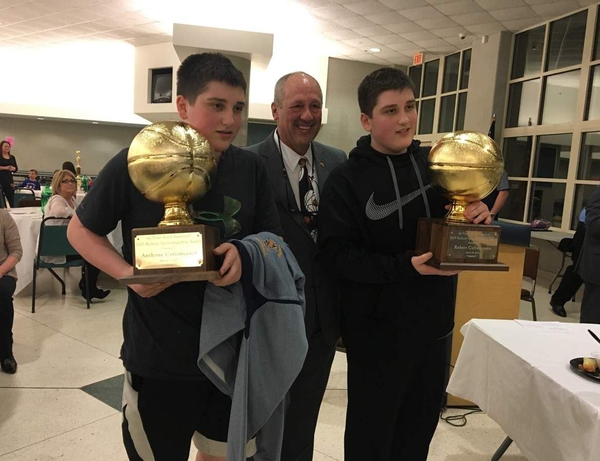 Pictured is Anthony Cofrancesco, Sal Tinari Biddy Basketball president Richard Raffone, and Robert Cofrancesco. Photo courtesy of Carmella Cofrancesco