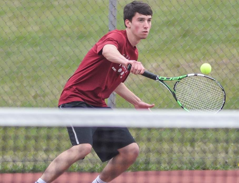 Senior Ben Kilby stepped up to win two matches at the No. 1 singles position last week and help Valley boys' tennis stay unbeaten on the season with a record of 4-0. Photo by Kelley Fryer/The Courier