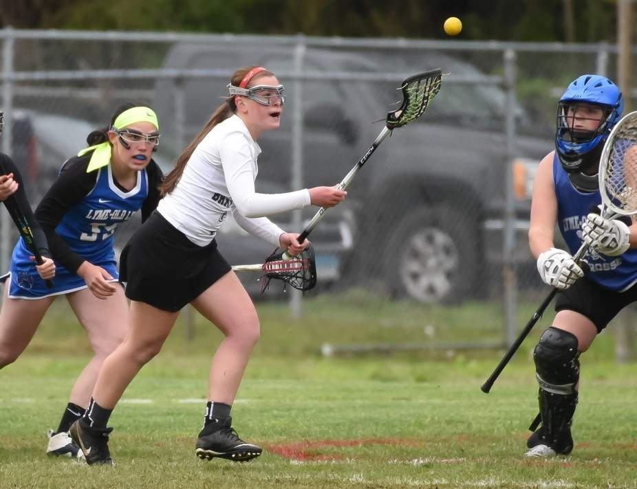 Sydney Hogan was a major factor offensively as she contributed multiple goals and assists to help North Branford girls' lacrosse post a few more victories last week. Photo by Kelley Fryer/The Sound