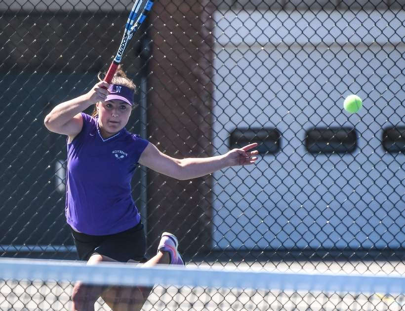 Senior Casey Burns didn't surrender a single set last week as the Knights' girls' tennis team ran the board in their four matches to improve 5-1 on the season. Photo by Kelley Fryer/Harbor News