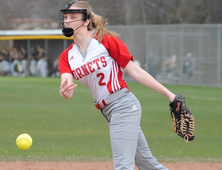 Senior Olivia Datre pitched five scoreless innings of relief when the Branford softball squad beat Wilbur Cross by a 27-9 final to notch its first victory of the 2017 season. Photo by Kelley Fryer/The Sound