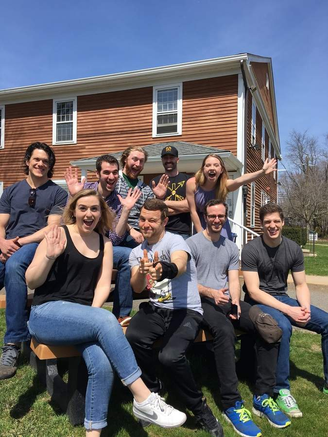 The cast of an upcoming production of Biloxi Blues at the Ivoryton Playhouse includes, back row: George Mayer, Zal Owen, Conor M. Hamill, Mike Mihm, Andee Buccheri, and front row: Moira O'Sullivan, Chandler Smith, Alec Silberblatt, Ethan Kirschbaum. Photo courtesy of the Ivoryton Playhouse