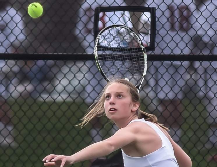 Sophomore Julia Migliorini has dominated her competition at the No. 1 singles position for the North Haven girls' tennis team this spring. Both Migliorini and the Indians own a record of 7-0 on the season. Photo by Kelley Fryer/The Courier