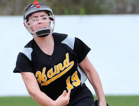 Junior pitcher Abby Geshwind has established herself as the ace of the pitching staff for Hand softball squad, which has jumped out to a 6-2 start for the 2017 campaign. Photo by Kelley Fryer/The Source