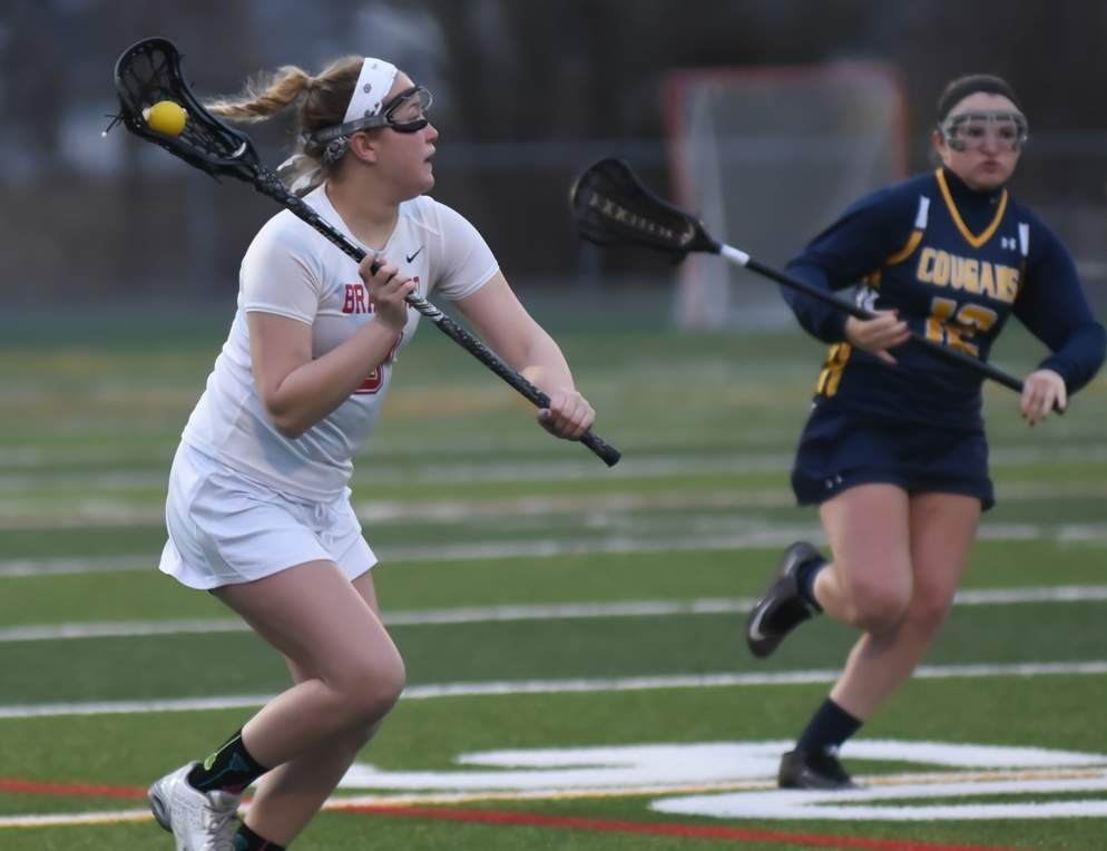 Erin O'Brien buried a pair of goals when the Branford girls' lacrosse team trounced Sheehan by a 17-2 final to improve to 3-1 for the year. Photo by Kelley Fryer/The Sound
