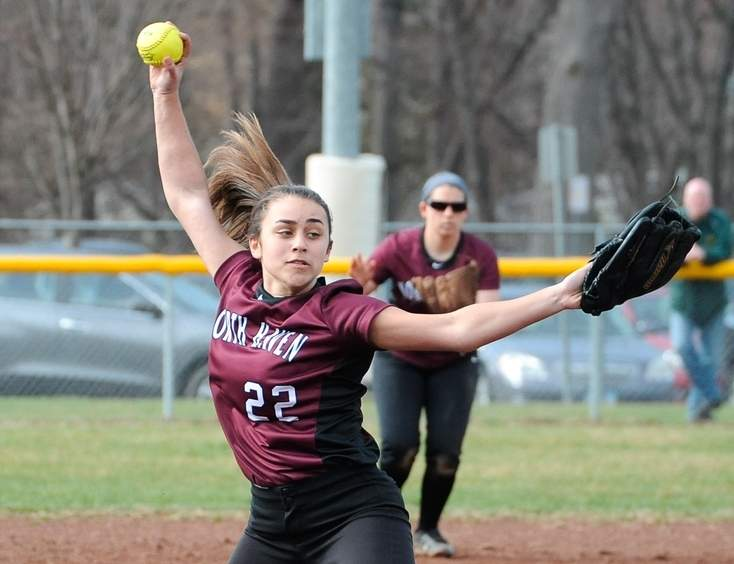Sophomore Lauren Card pitched the North Haven softball in last week's wins versus Sheehan and West Haven. North Haven is now 5-1 on the season. Photo by Kelley Fryer/The Courier