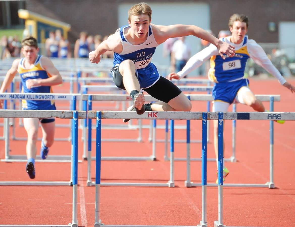 James Vukovinsky earned first place in the 110-meter high hurdles and the 300 intermediate hurdles in Old Saybrook's wins against Haddam-Killingworth and Creed on April 18. Photo by Kelley Fryer/Harbor News