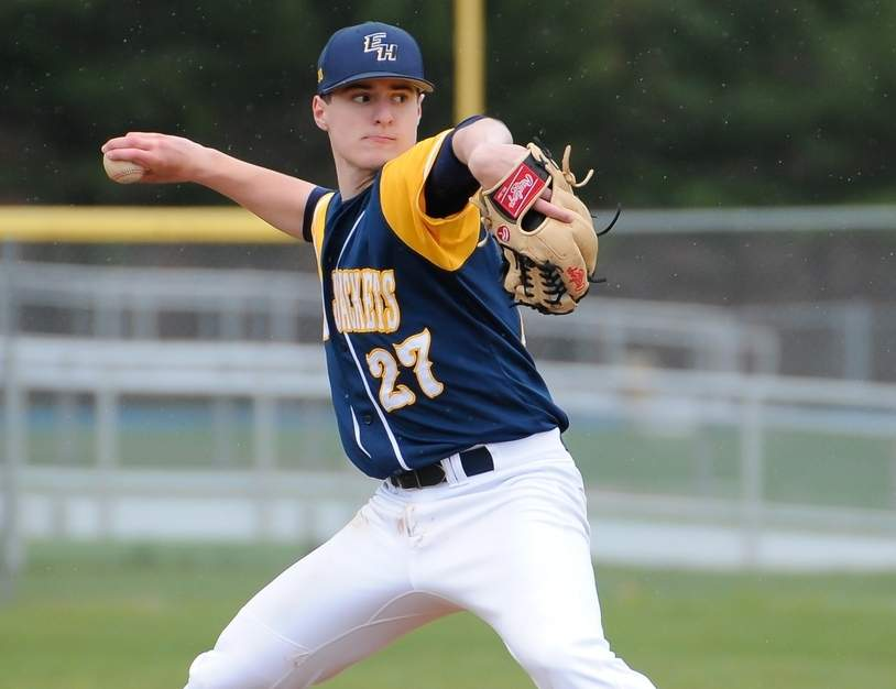 Via Camera tossed a four-hitter when the East Haven baseball team beat Xavier by a 12-1 score on April 22 to level its record at 4-4 on the season. Photo by Kelley Fryer/The Courier