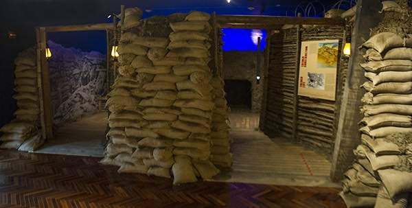 "A replica World War I trench constructed within the galleries allows Knights of Columbus Museum visitors opportunity to experience battle lines along ""no man's land."" Photo courtesy of Knights of Columbus"