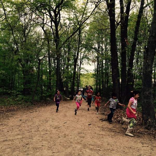 Children hiking on the East Haven section of the Shoreline Greenway Trail. Photo courtesy of the Shoreline Greenway Trail