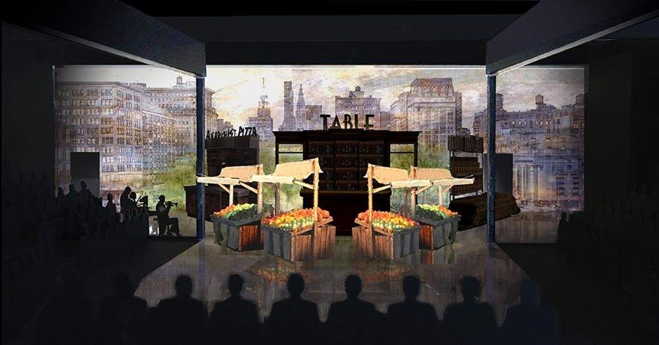 Set Designer Michael Yeargan's design for The Most Beautiful Room in New York includes this rendering for the Union Square Green Market. Photo courtesy of Long Wharf Theater