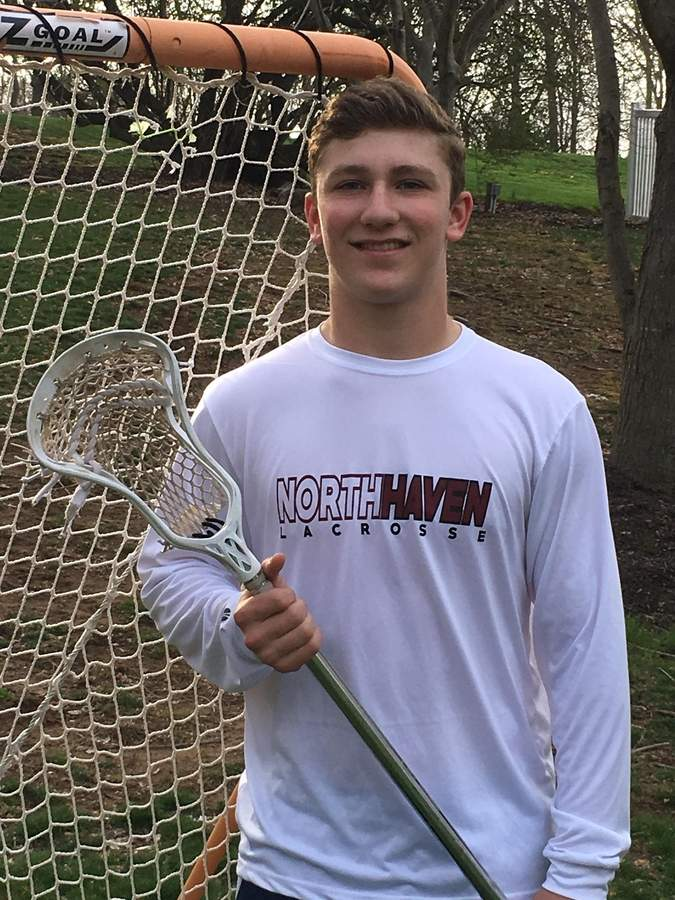 Junior midfielder Zack Orth and the North Haven boys' lacrosse squad are on fire in the early goings of the 2017 spring season. Zack has netted 16 goals for the Indians, who are 5-1. Zack also plays fullback and linebacker for the football squad at the high school.  Photo courtesy of Zack Orth