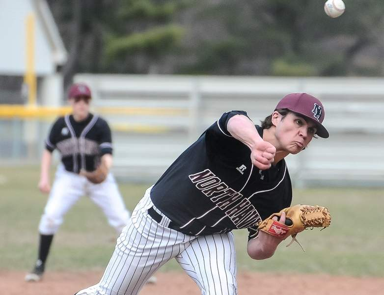 Brendan Clark earned his fourth win of the year on the mound when the North Haven baseball team notched a 4-2 win versus Xavier last week. The Indians own a record of 8-3 and are once again on their way to states. Photo by Kelley Fryer/The Courier
