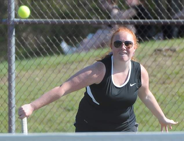 Junior Emma Hunt holds down the No. 2 singles position for Warriors' girls' tennis squad, which improved to 6-3 by winning all three of last week's matches. Photo by Kelley Fryer/The Courier