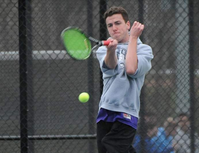 Senior Jason Raunikar and the Westbrook boys' tennis team improved to 10-0 on the season with two more victories last week, inching the Knights closer to their goal of winning the Shoreline Conference title. Photo by Kelley Fryer/Harbor News