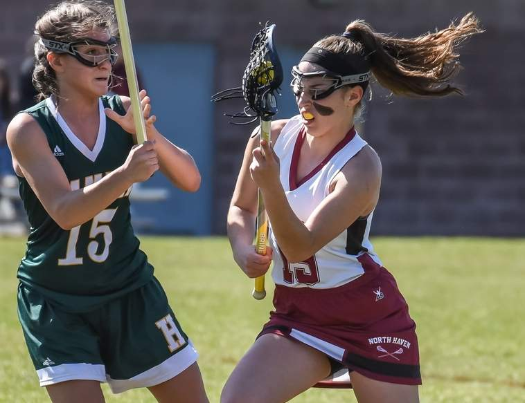 Junior Kylie Brandt and the North Haven girls' lacrosse team are not only aiming to return to the Class M State Tournament this spring, but also want to qualify for the SCC Tournament, and then do some damage in both postseason brackets. Photo by Kelley Fryer/The Courier