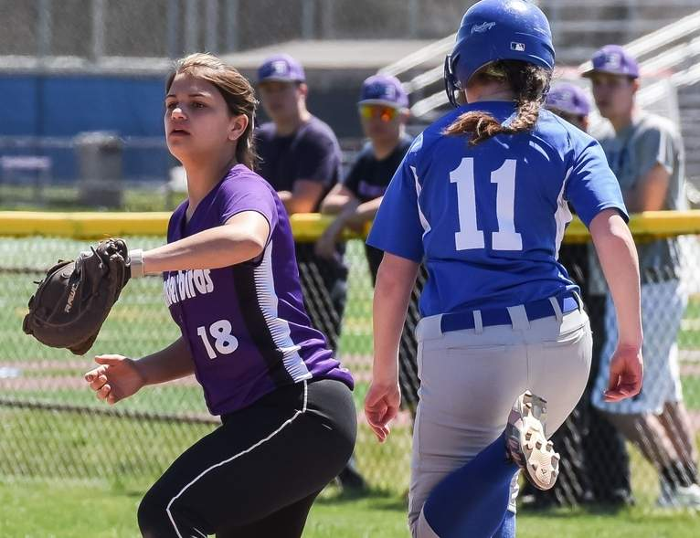Danielle Ramada and the North Branford softball team stand just one win away from a berth in the State Tournament following last week's 15-1 thumping of Cromwell on April 24. Photo by Kelley Fryer/The Sound