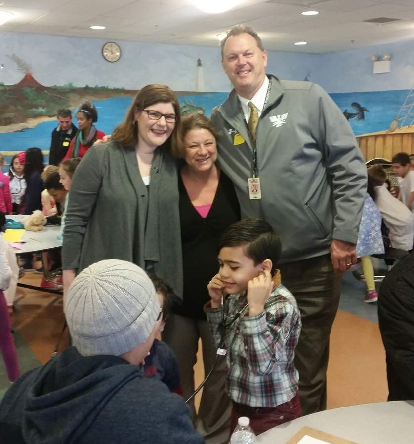 Shown here enjoying a final interdistrict event for students, parents, and community helpers at Nathan Hale School in New Haven are (from left) Jerome Harrison School 1st grade teacher Katie Ayotte, Nathan Hale School 1st grade teacher Stacey Kormier, and North Branford Superintendent of Schools Scott Schoonmaker.  Photo courtesy Katie Ayotte