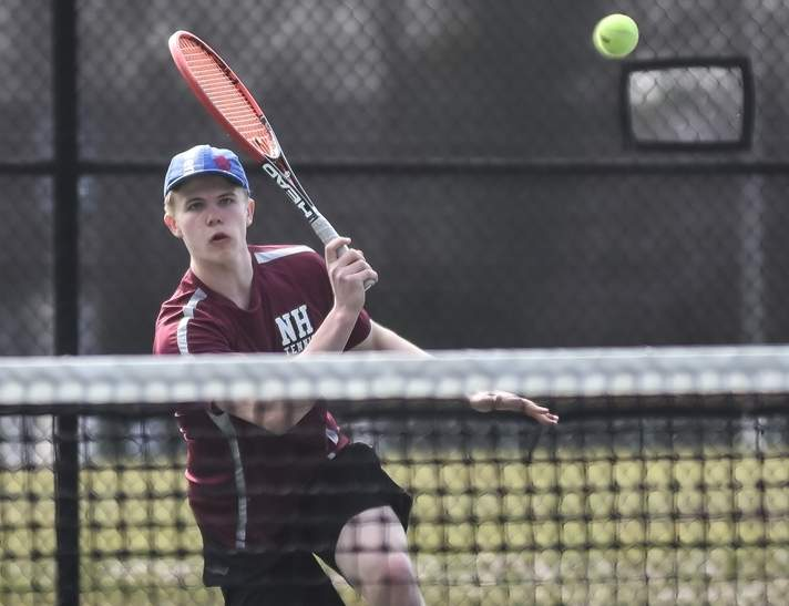 Senior captain Johannes Eisenberg and the North Haven boys' tennis team are 5-5 this season and need to win four of their final eight matchups to make states for a fourth straight year. Photo by Kelley Fryer/The Courier