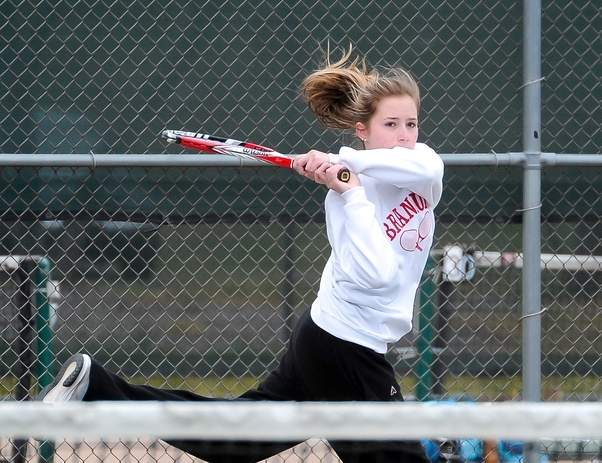 Senior captain No. 1 singles player Lauren Elmasry and the Branford girls' tennis team have won three of their last four matches and are bringing a head of steam into the home stretch this season. Photo by Kelley Fryer/The Sound
