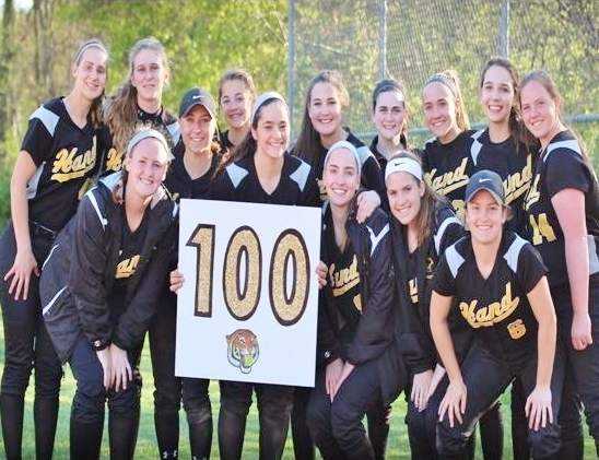 Senior Lily Geshwind recorded the 100th hit of her career with the Hand softball team when the Tigers played Foran on May 3. Pictured are Geshwind and her teammates following Hand's 7-6 loss against the Lions. Photo courtesy of Susan Wivell