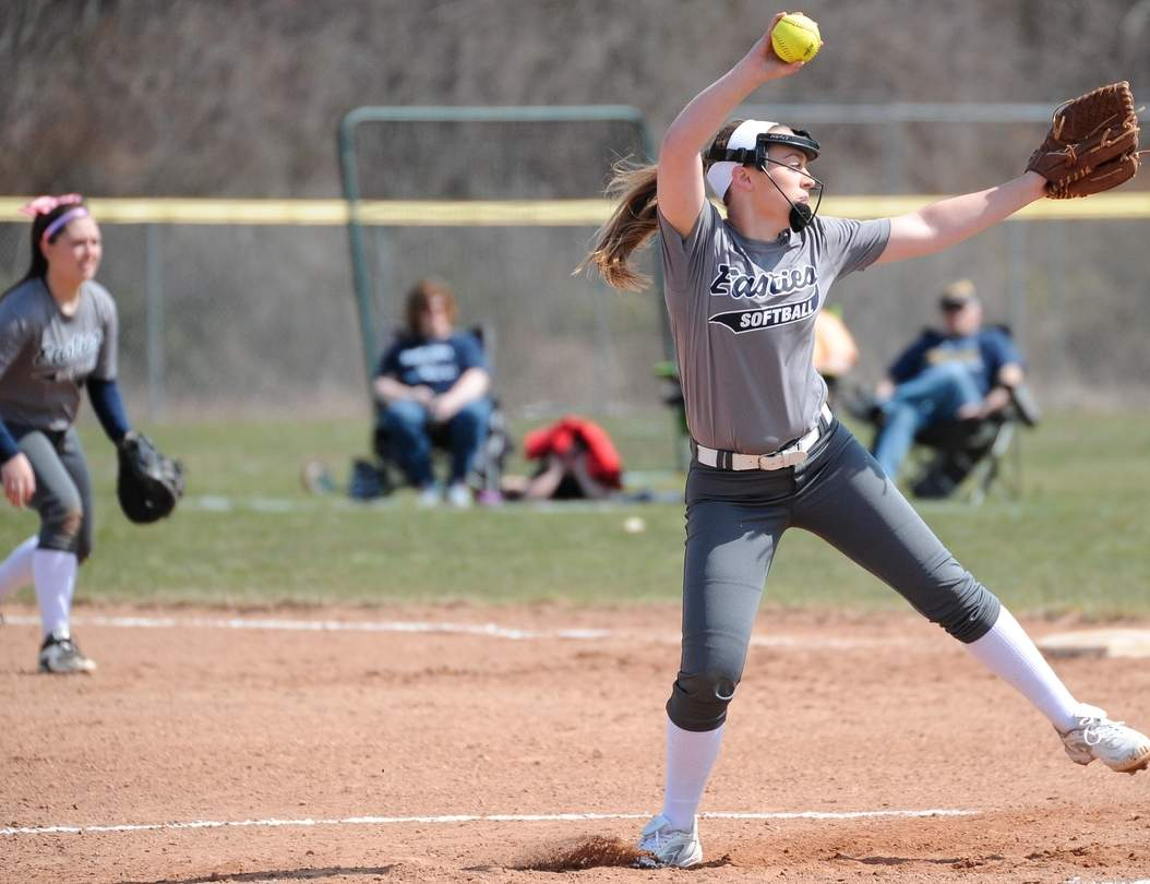 Selena Mauro pitched well for the Yellowjackets last week and scooped up the victory that sent East Haven to the postseason. The Easties beat North Branford 3-1 to qualify for both the SCC and State tournaments. Photo by Kelley Fryer/The Courier