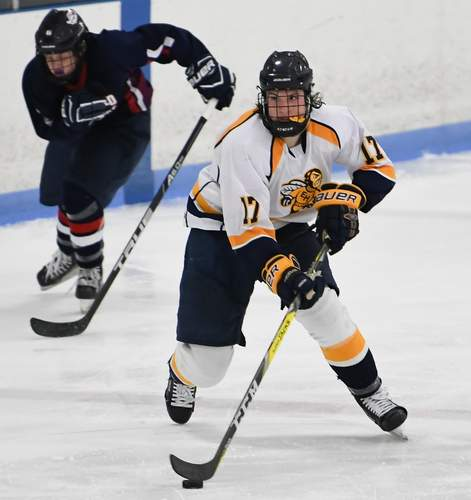 After totaling 88 points as a freshman for the Yellowjackets, Nick Capone now has an opportunity to either play junior hockey in the United States Hockey League or attend the Salisbury School in upstate Connecticut. Photo by Kelley Fryer/The Courier