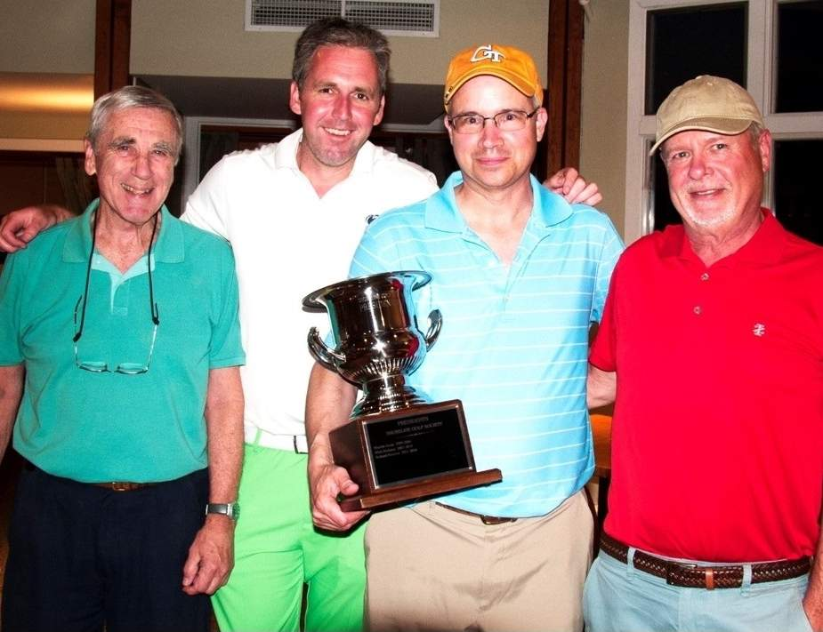 Pictured at the Shoreline Golf Society's (SGS) President's Cup Tournament are SGS president Eric Fuller, Mike Rowan (North Branford), Greg Farnoli (Westbrook), and Bill Nash (Westbrook). Photo courtesy of Martin Axon