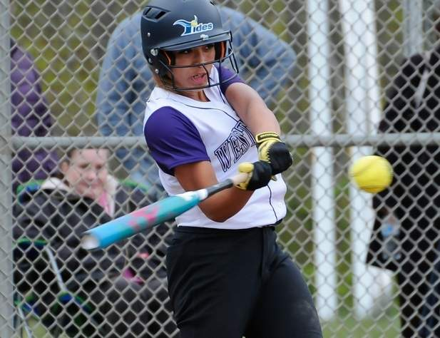 Senior captain Biance Ferrucci has been unstoppable at the plate all year for the Knights' softball team. Last week, Ferrucci hit four home runs in three games for Westbrook, which routed Old Lyme by a 14-5 final on May 8. Photo by Kelley Fryer/Harbor News