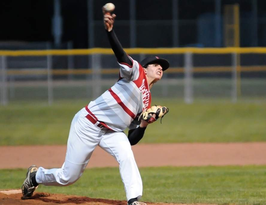 Junior Zane Kmietek came one out away from a no-hitter when the Branford baseball team recorded an 8-2 victory at North Haven on May 10. Kmietek struck out 12 and allowed two unearned runs in his 6.2 innings for the Hornets, who are 11-5 and in the midst of a seven-game win streak. Photo by Kelley Fryer/The Sound
