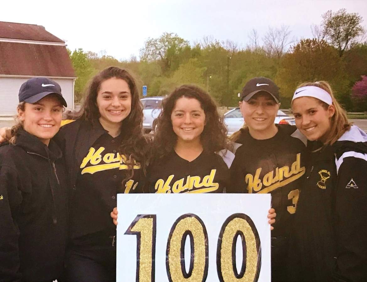 Tigers' pitcher Abby Geshwind notched 100th  strikeout of the year in a 5-0 win over West Haven on May 8. Pictured are Sophie Schreck, Lily Geshwind, Abby Geshwind, Hollis Wivell, and Caroline Schreck. Photo courtesy of Susan Wivell