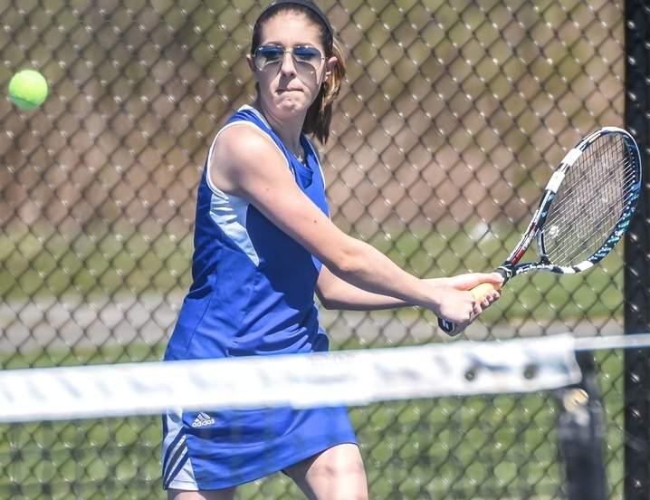 Isabella Luciani owns a record of 17-0 for the Old Saybrook girls' tennis squad, which stands at 14-3 after winning four of its five matchups in last week's action. Photo by Kelley Fryer/Harbor News