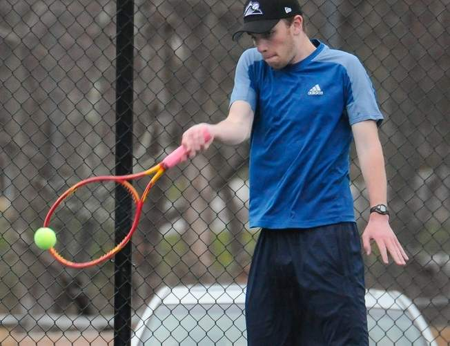 Senior captain Sam Moran and Morgan boys' tennis were triumphant in all three of their matches last week and are now 14-3 on the season. Photo by Kelley Fryer/Harbor News