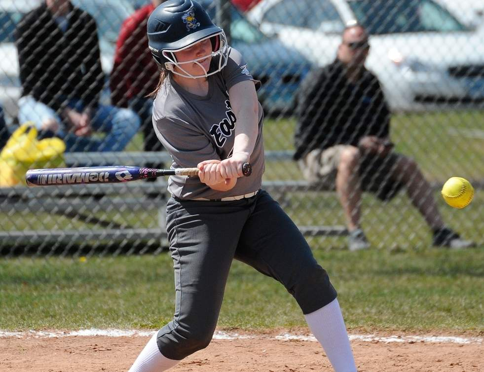 Megan Roberts's bat is heating up as she posted back-to-back multiple RBI games for the East Haven softball team last week. The Yellowjackets currently sport a record of 12-6 on the season. Photo by Kelley Fryer/The Courier