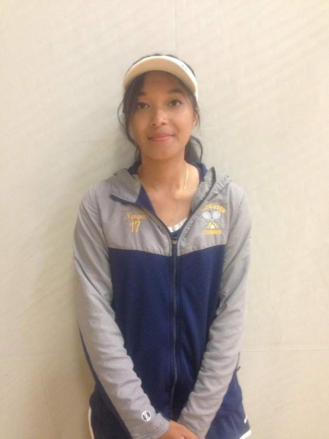 Senior Sandy Nguyen has progressed into a quality doubles player for the East Haven girls' tennis team, and she even plays singles when needed. Photo courtesy of Sandy Nguyen