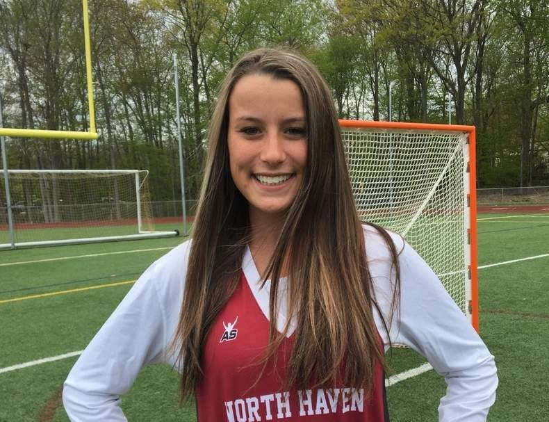 Haley Murray typically draws the assignment of defending the opposition's best player, but she thrives in the face of that responsibility as a senior captain midfielder for the North Haven girls' lacrosse team. Photo courtesy of Haley Murray