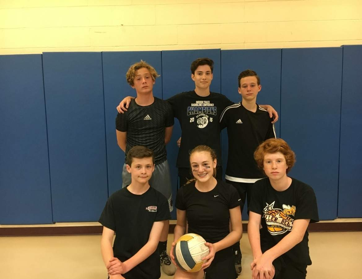 Team Black Magic won the championship at the Old Saybrook Parks and Recreation Department's second annual Co-ed Volleyball Tournament on April 28. Pictured are (front) Nate Lacey-Giugno, Kayla Holt and Will Webb; (back) Gannon Efinger, Gabe Karr, and Trey Martin. Photo courtesy of Taryn Erb