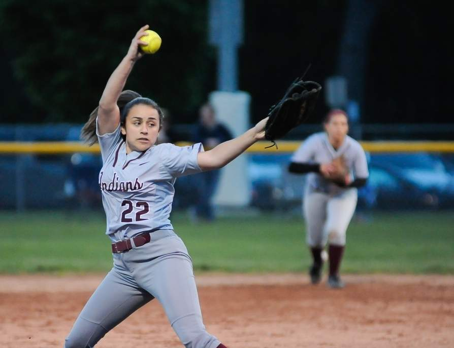 Sophomore Lauren Card and the North Haven softball team are the Oronoque Division champions after finishing at 7-1 in divisional play this spring. Card earned her 13th win on the mound when the Indians edged Oronoque opponent Lyman Hall 2-1 last week. Photo by Kelley Fryer/The Courier