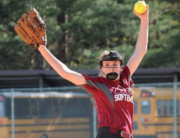 Freshman pitcher Addy Bullis threw a complete game one-hitter in the Valley Regional softball team's 7-2 victory over Kennedy on May 18. Photo by Kelley Fryer/The Courier