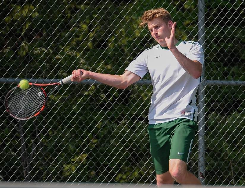 Junior co-captain Sam Inchalik has been solid presence in the doubles lineup for the Guilford boys' tennis team, which finished with a record of 16-4 on the regular season. Photo by Kelley Fryer/The Courier