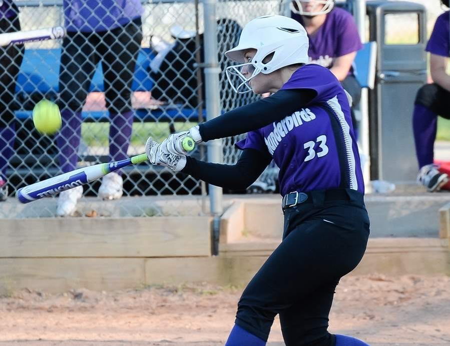 Olivia Hemstock had a few big hits to help the North Branford softball team pick up a pair of recent victories and finish with a mark of 15-5 for the regular season. Photo by Kelley Fryer/The Sound