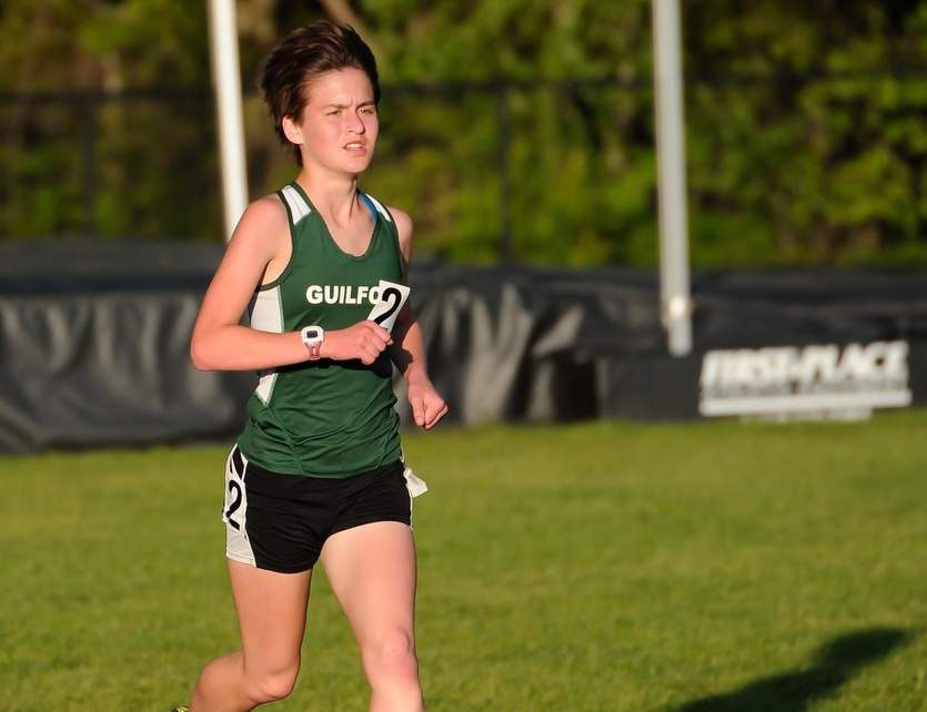 Meredith Bloss took first place in the 3,200 at the SCC East Sectional Championship to help the Guilford girls' outdoor track team finish in second place on the day. Photo by Kelley Fryer/The Courier