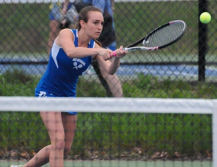 Senior captain Rosie Rothman holds a 13-7 record at No. 1 singles for the Old Saybrook girls' tennis team. Rothman will compete in the State Open Singles Tournament for the second year in a row, starting on Saturday, June 3. Photo by Kelley Fryer/Harbor News