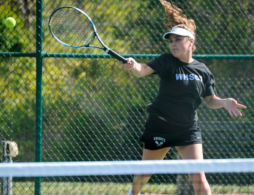 Senior Casey Burns finished her regular season with a 20-0 record to lead Westbrook girls' tennis to its third Shoreline Conference title in four years. Photo by Kelley Fryer/Harbor News