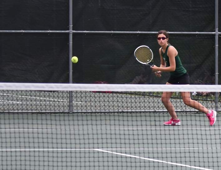 The No. 1 doubles team of sisters Charlotte and Molly Babbin helped the Guilford girls' tennis squad record a successful record of 13-6 during the recent regular season. Photo by Kelley Fryer/The Courier