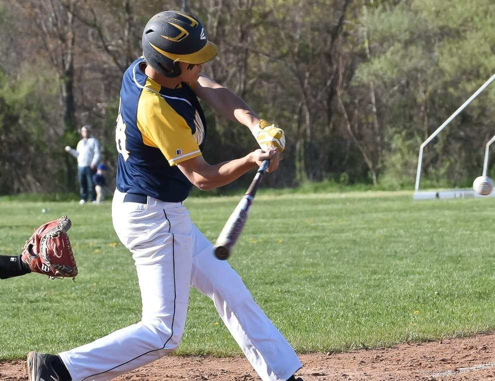 Nick Kraszewski went yard to give the Yellowjackets' baseball squad a 7-6 win over North Haven in the SCC Tournament quarterfinals on May 23. The next day, East Haven took an 11-0 defeat to Amity in the semifinals. Photo by Kelley Fryer/The Courier